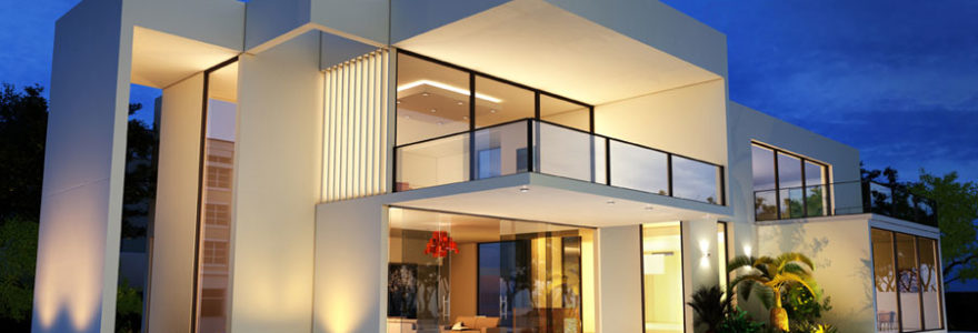 Maison avec un toit-terrasse